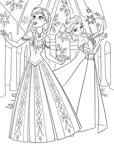 coloring page of elsa and anna free printable coloring pages elsa and anna 2015