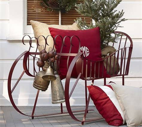 decorating a steel barn for christmas metal sleigh pottery barn