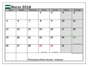 Calendario 2018 Andalucia Calendario Para Imprimir Marzo 2018 D 237 As Festivos En
