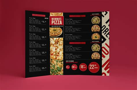 trifold pizza menu template brandpacks
