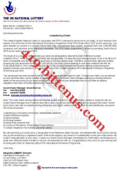 Confirmation Letter Greenwich U K National Lottery Margaret Lambert Director
