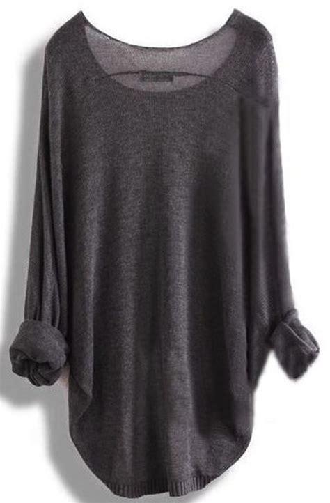 grey plain irregular neck dolman sleeve fashion pullover sweater pullovers