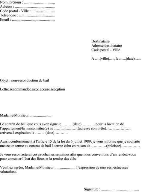 Modele Lettre Conge Locataire Pour Habiter mod 232 le de lettre du propri 233 taire pour non renouvellement