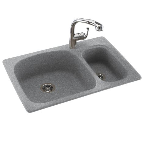 Swan Granite Kitchen Sink Swan Drop In Undermount Composite 33 In 1 70 30 Bowl Kitchen Sink In Gray Granite