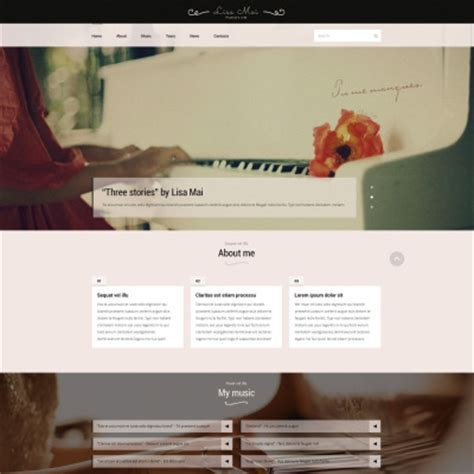 Personal Pages Website Templates Piano Website Template