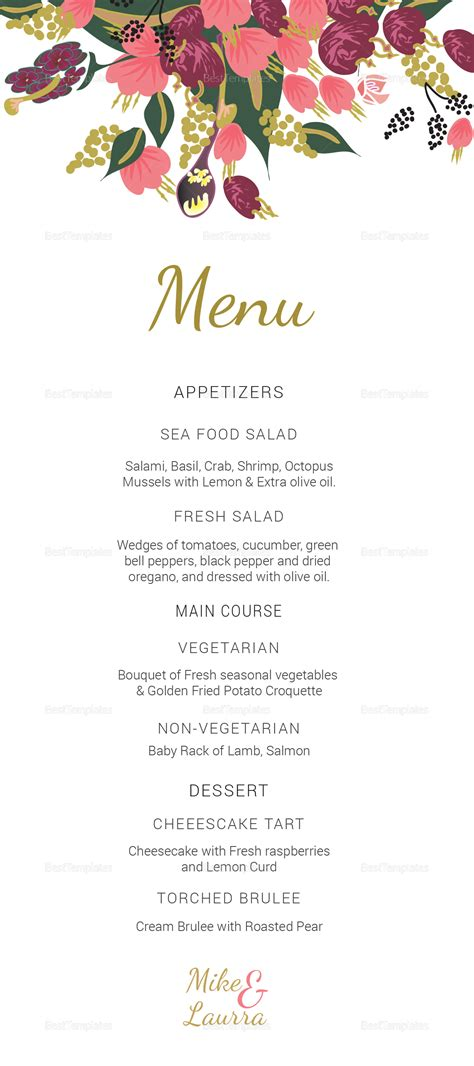 Free Menu Card Template Indesign by Burgundy Floral Wedding Menu Card Design Templates In Word