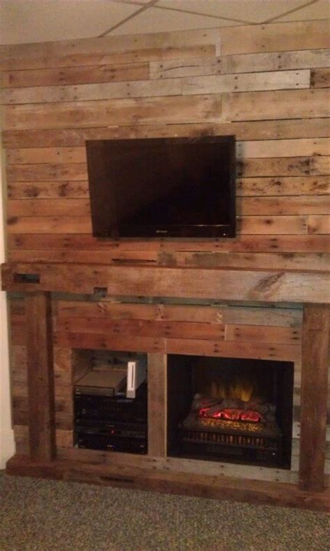Pallet Fireplace by Entertainment Wall Fireplace With Real Beam Mantel On An