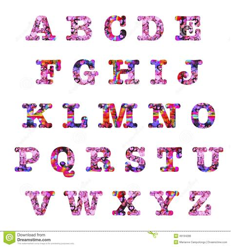 lettere artistiche hearts capital letters alphabet stock illustration image