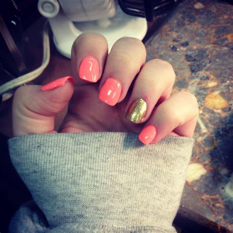 coral  gold sparkle acrylic nails  love