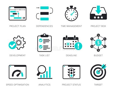 icon design management project management icons set stock photo image of list