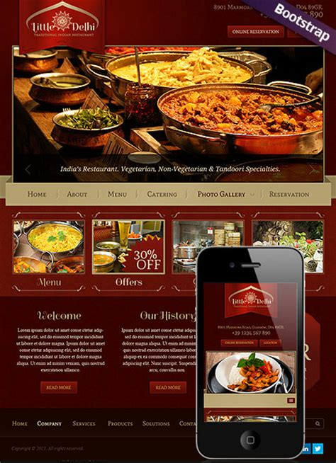 Bootstrap Templates For Restaurant | indian restaurant bootstrap template id 300111689 from