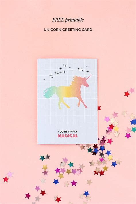 printable unicorn paper printable unicorn greeting card magical unicorn