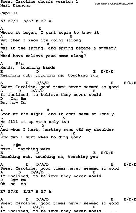 guitar lyrics song lyrics with guitar chords for sweet caroline learn