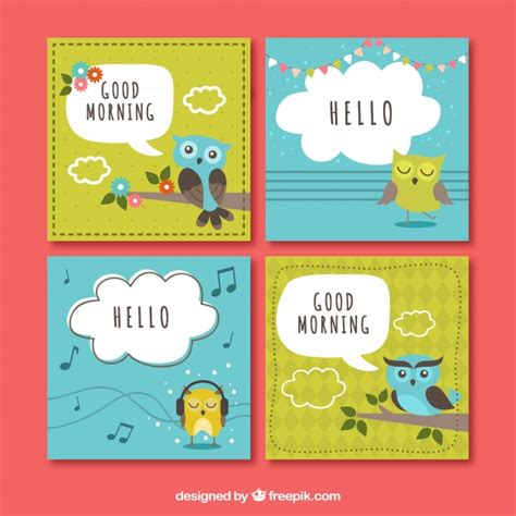 greeting card template with cute owl vector free download pack of four colored greeting card with cute owl vector