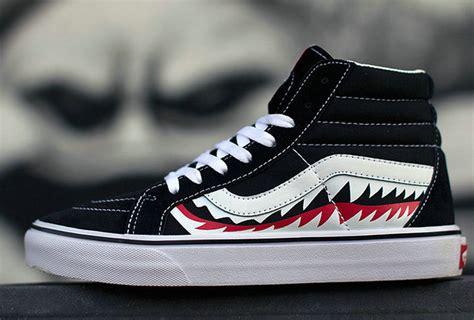 Harga Vans X Bape Original original vans x bape shark mouths sk8 hi black skateboard
