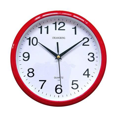 modern red wall clock quartz non ticking silent sweeping