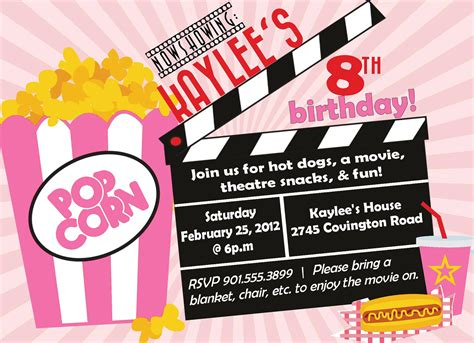 printable birthday invitations movie movie birthday party invitation girl birthday