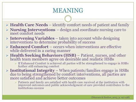 definition of comfort care comfort theory analysis