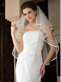 Sendal L 253 Js 31 36 one tier fingertip bridal veils with ribbon edge