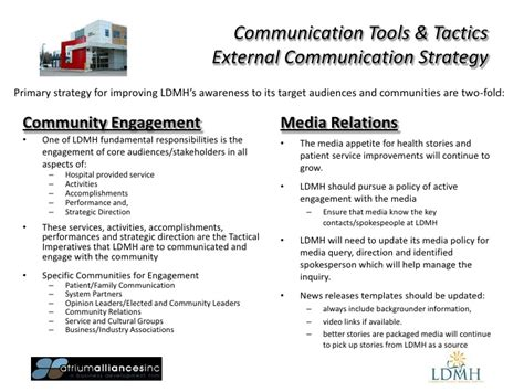 Ldmh Communication Plan 2012 External Communication Strategy Template