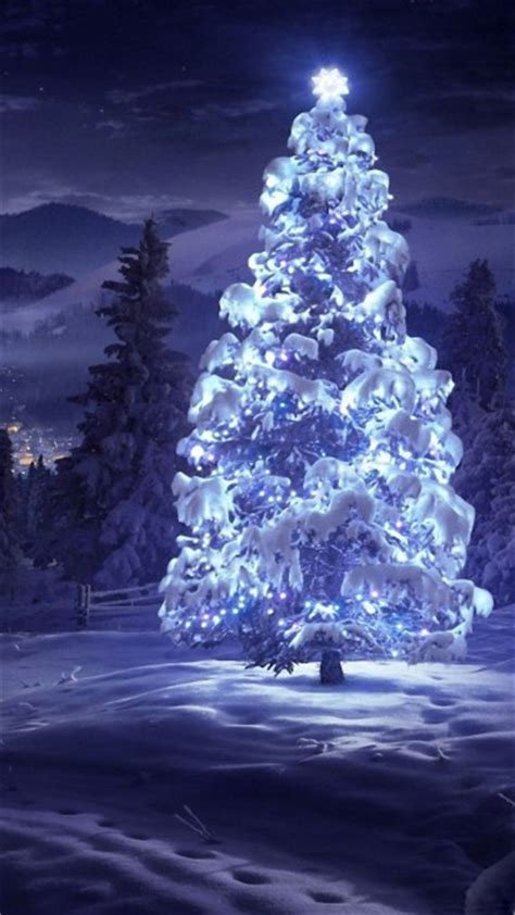 christmas tree snow blue lights android wallpaper free