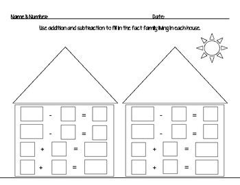fact family house fact family house addition and subtraction worksheet by mrs slauenwhite