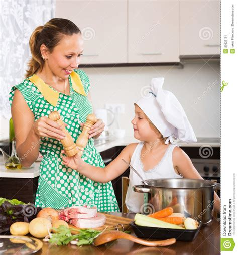 Kitchen Baby With Baby Cooking At Kitchen Stock Image Image