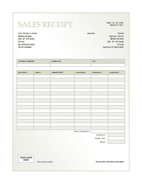 free sales receipt template microsoft word best photos of sales receipt template free free