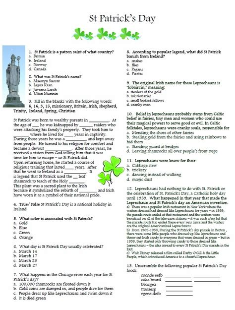 st trivia st patty s day quiz march