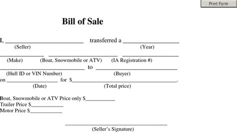 bill of sale template for atv snowmobile bill of sale free premium