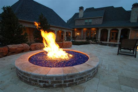 Fire Pit With Blue Glass Rocks Mediterranean Patio Glass Firepits