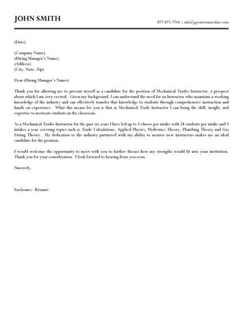 Mechanical Trades Instructor Cover Letter Sample | interviewing | Pinterest | Sample resume