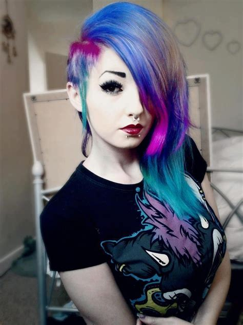 cute colors piercing scene beauty pale emo goth fashion