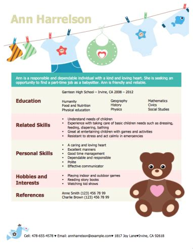 babysitting resume template 12 free high school student resume exles for
