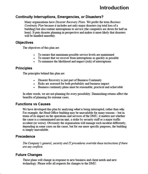 business continuity plan template business plan template