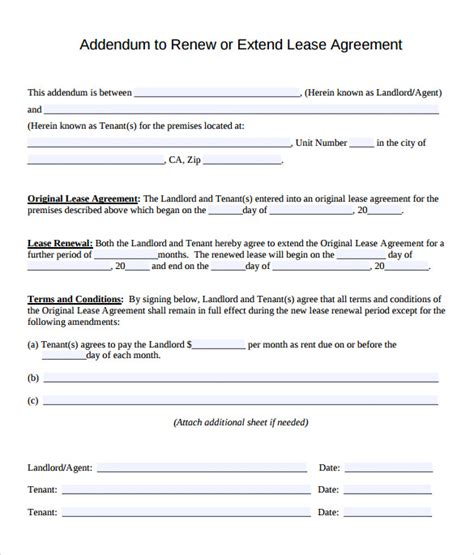 Lease Extension Agreement Letter 11 Lease Extension Agreements Free Sle Exle Format