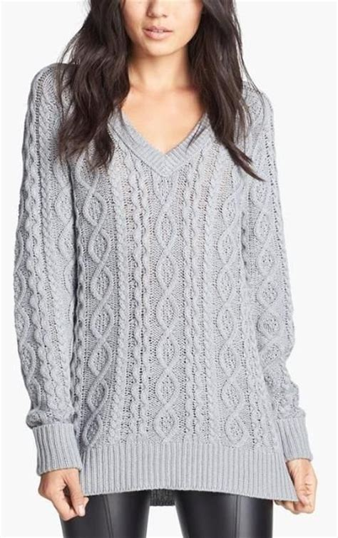 Cozy Grey Cable Knit Sweater Fall Fashion