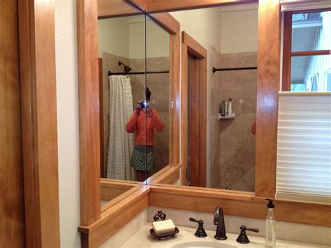 corner mirrors for bathrooms bathroom corner mirrors framed in pine remodel ideas