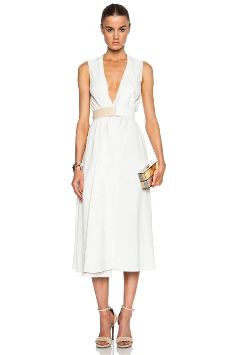 v neck drape dress victoria beckham v neck drape midi dress in white lyst