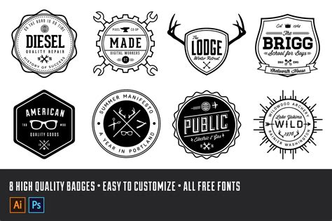Vintage Logo Badge Kit Volume 1 Retrosupply Co Retro Logo Template