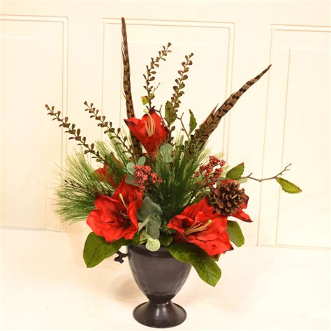 decorative floral arrangements home floral home decor amaryllis floral arrangement wayfair