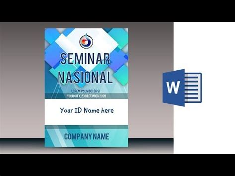 cara membuat id card seminar cara membuat name tag id card di ms word 2010 youtube