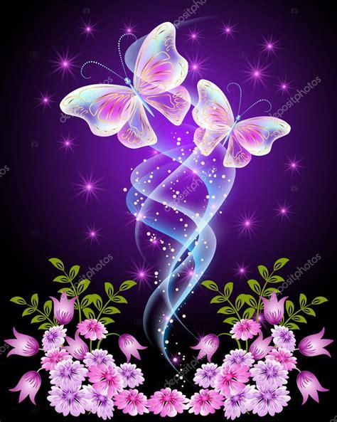 fiori con farfalle farfalle trasparenti con fiori e stelle vettoriali stock