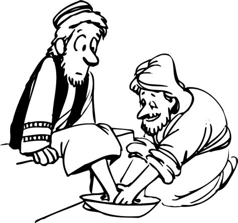 jesus washes the disciples feet coloring page printable