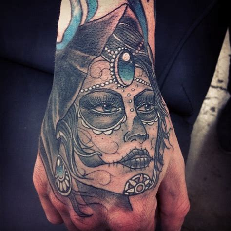 hand piece tattoo day of the dead girl hand piece inked pinterest