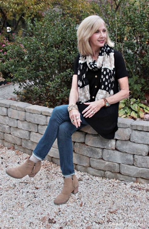 style over 50 slenderizing fashion over 50 black top and jeans southern hospitality
