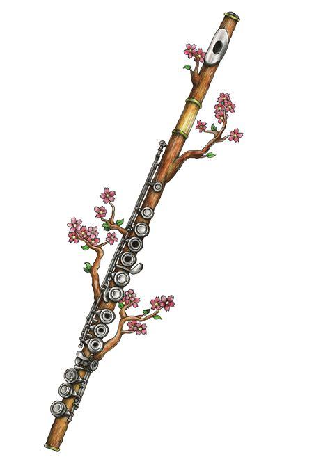 cherry blossoms flute flute tattoo  tattoos flute