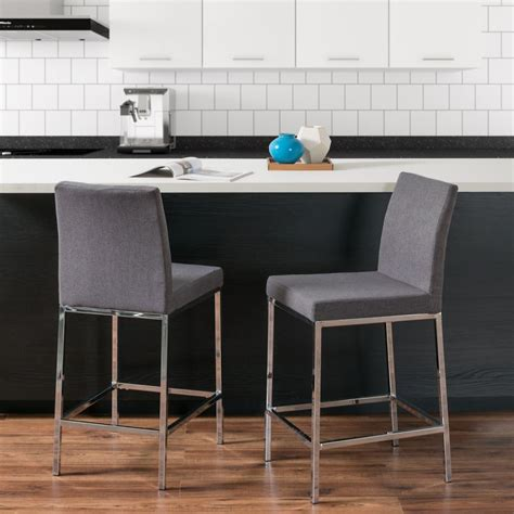 Bar Stools With Chrome Legs by Corliving Huntington Grey Fabric Bar Stools With Chrome
