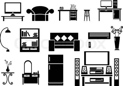 livingroom gg living room icon set vector illustration stock vector