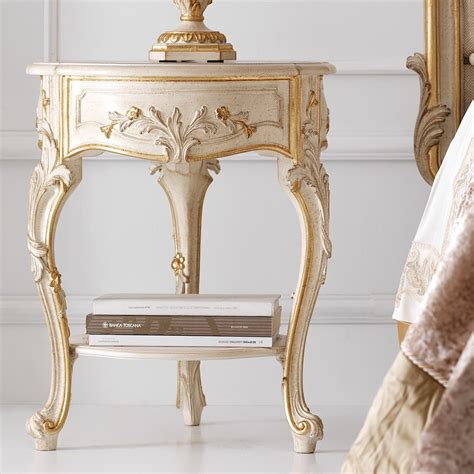 gold bedside table ornate ivory and gold small bedside table